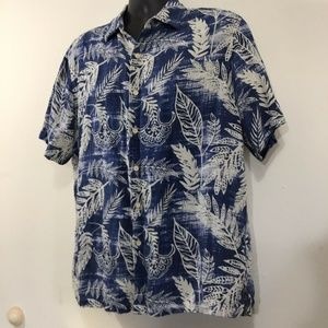Margaritaville Blue Large Hawaiian Shirt 75% Silk